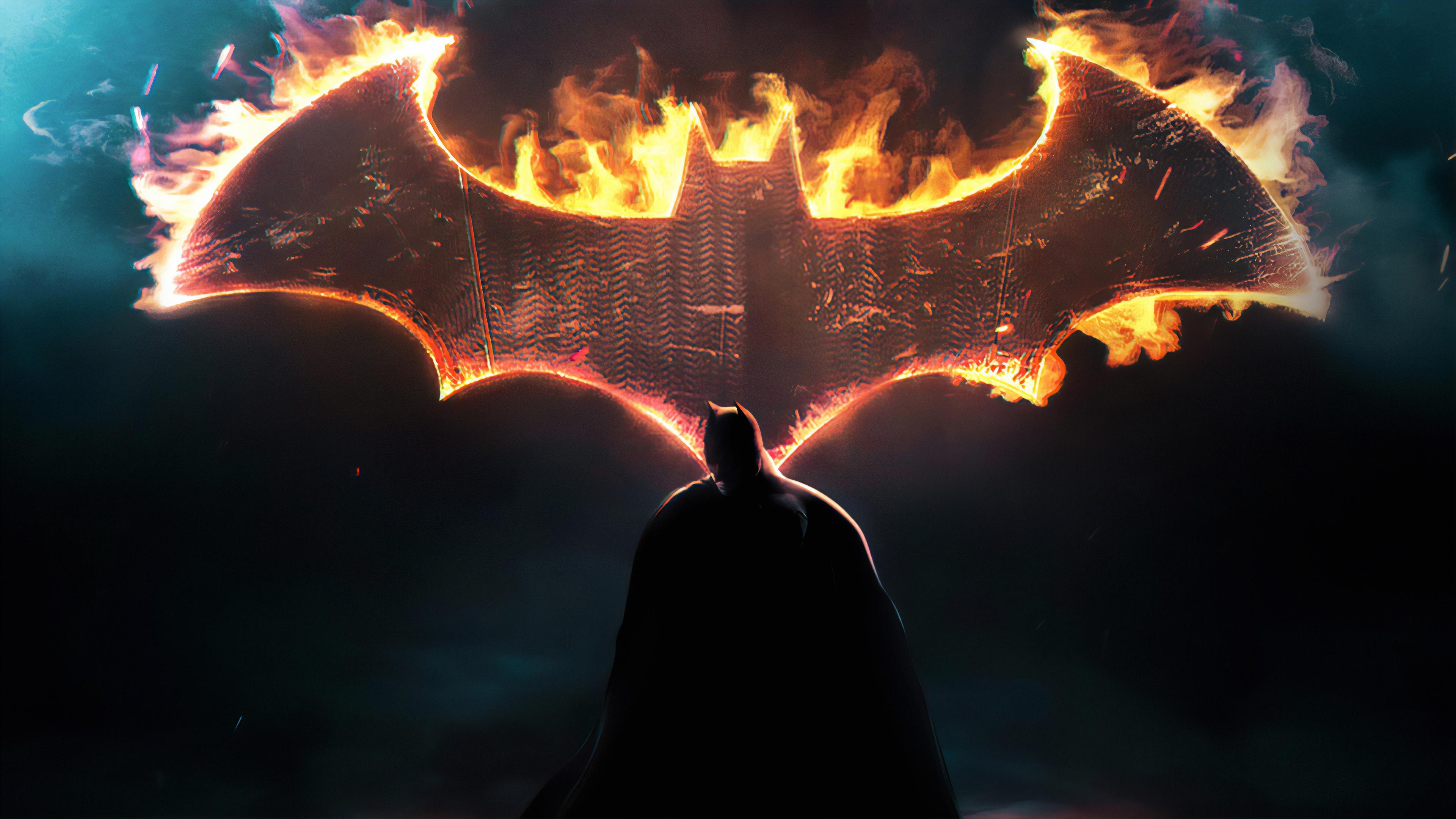 Batman Dark Knight Fire Logo - Batman Wallpaper For Pc - HD Wallpaper