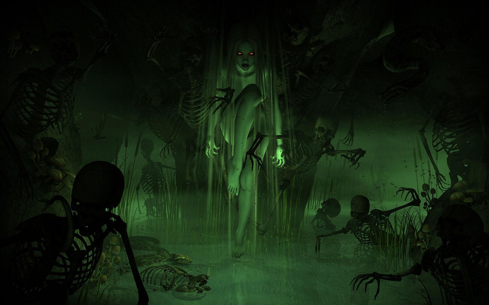 Hd Dark Horror Evil Women Girl Swamp Demon Skeleton - Fantasy Swamp Witch - HD Wallpaper