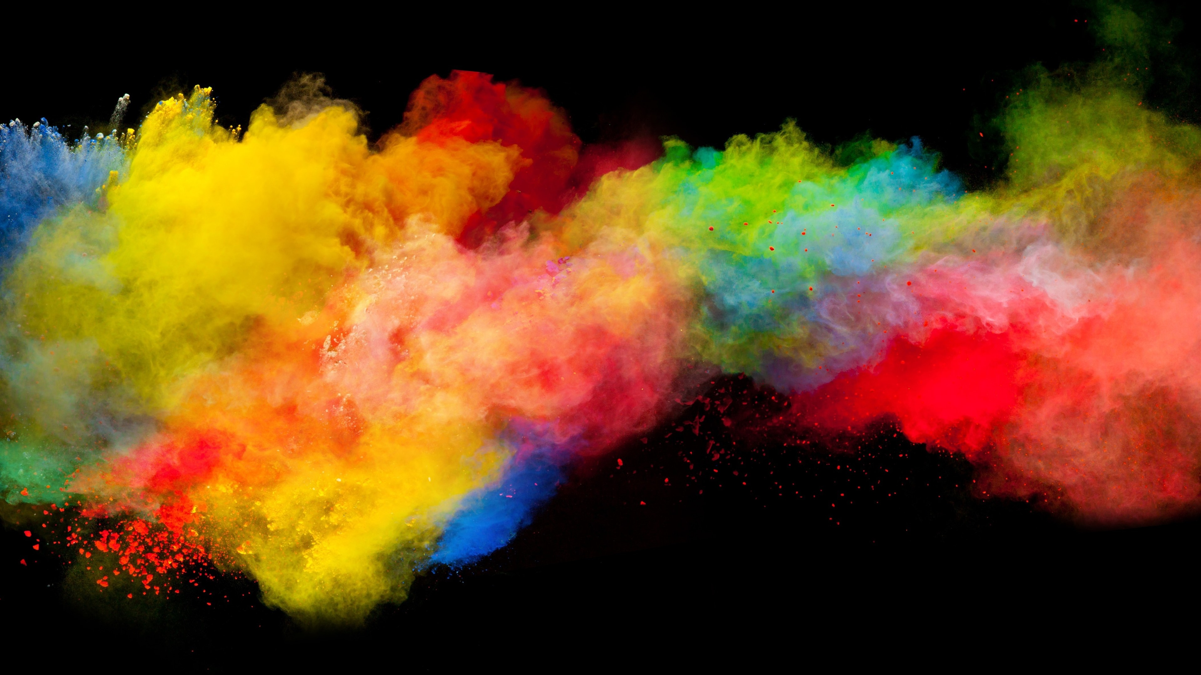 Wallpaper Colorful Smoke, Rainbow Colors, Black Background - Explosion Of Colour - HD Wallpaper