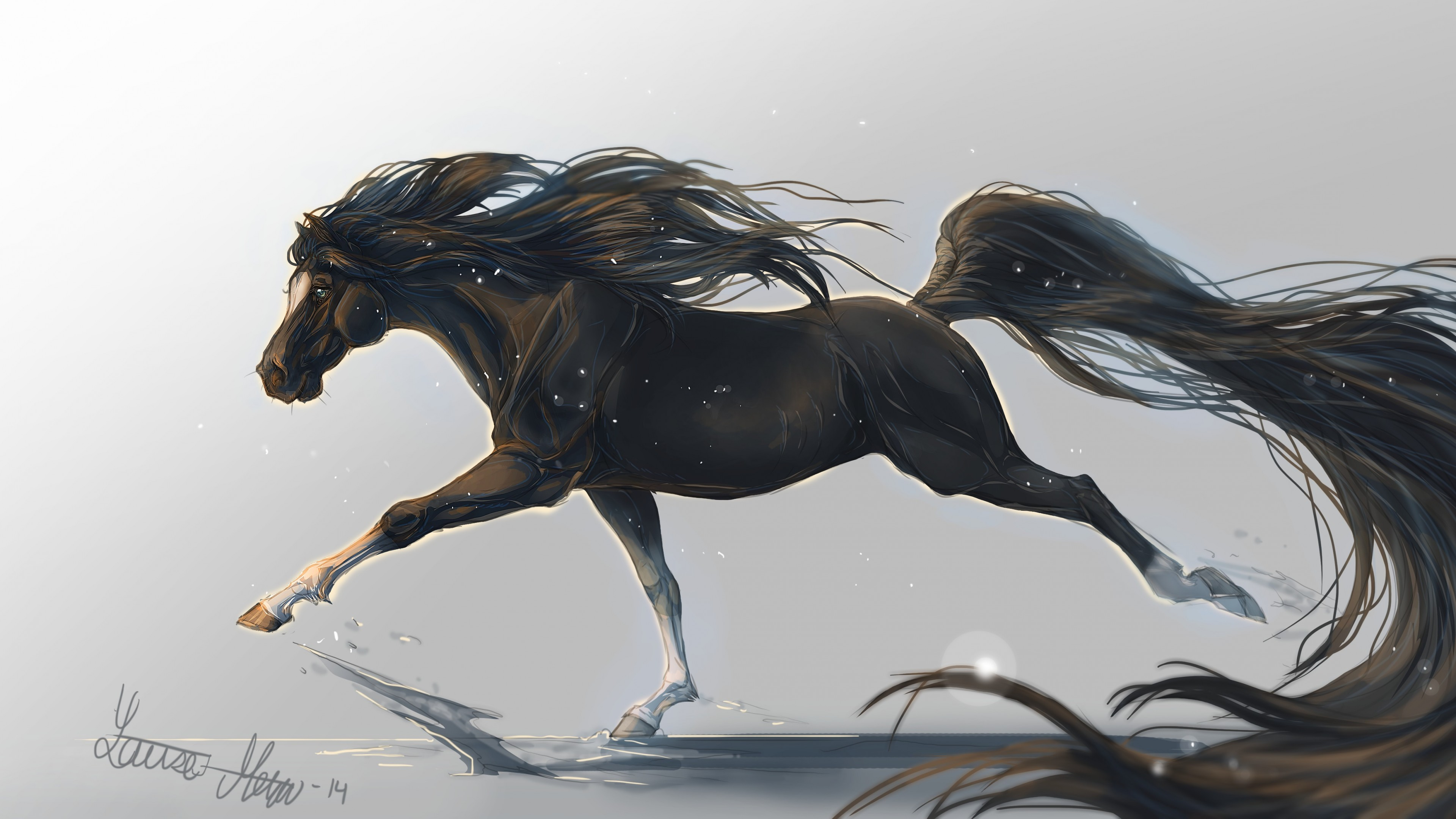 Black White Horse Art 3840x2160 Wallpaper Teahub Io