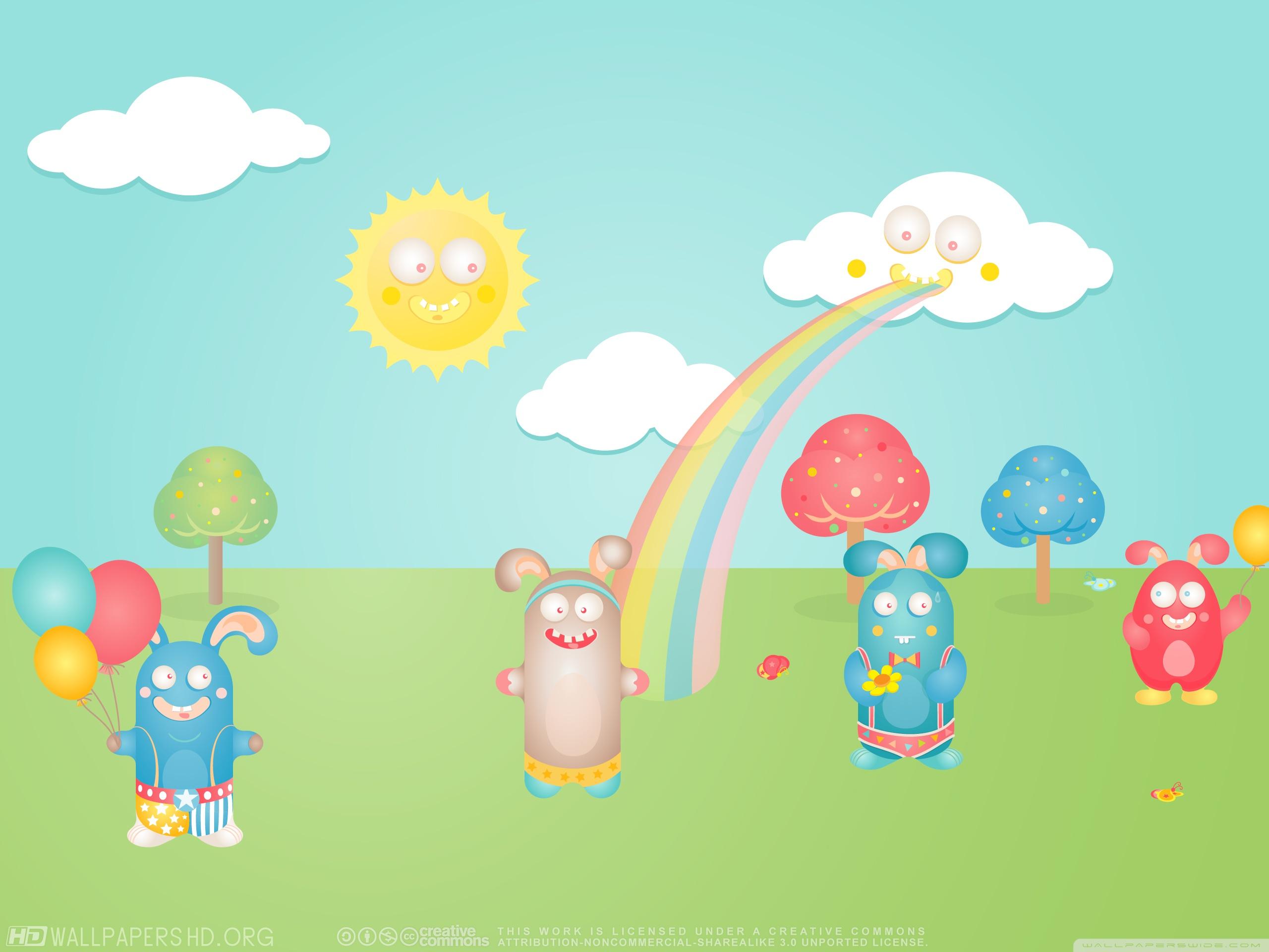 Gambar Kartun Kelinci Pelangi - HD Wallpaper