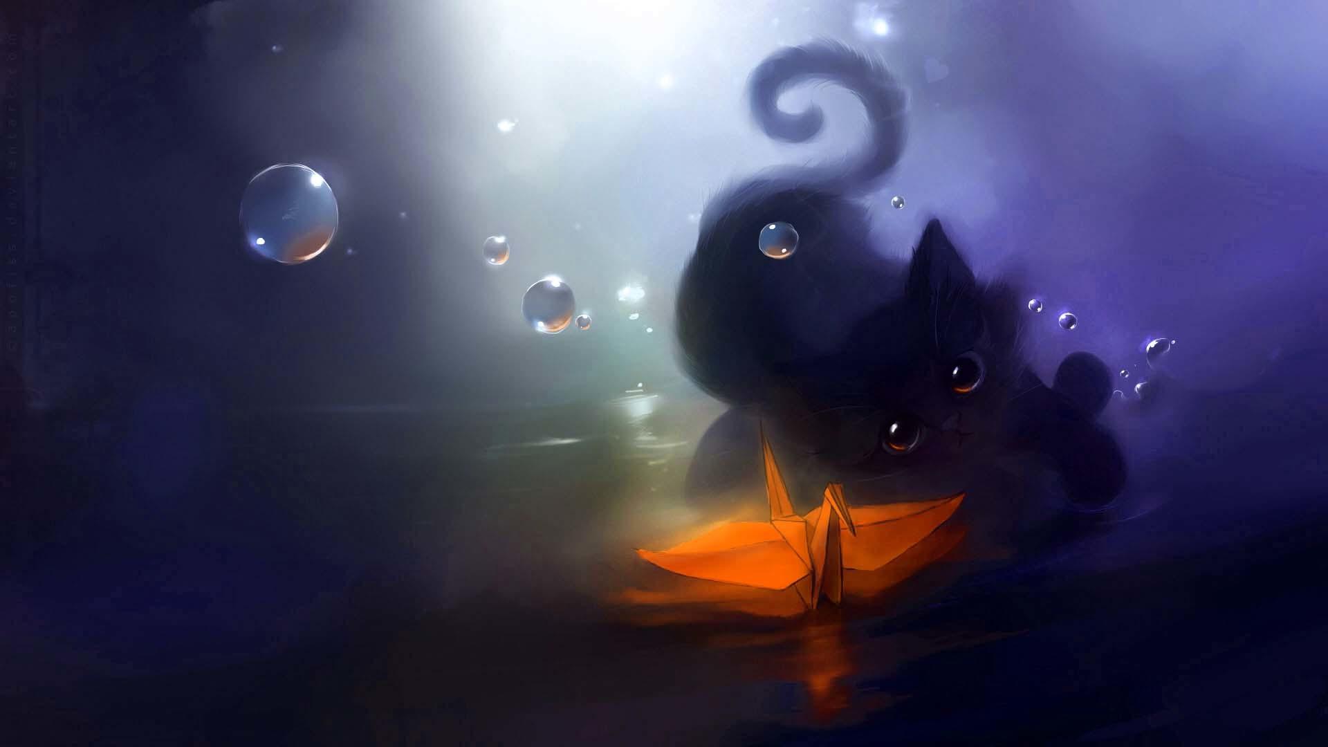 Cute Anime Cat Wallpaper Cat Backgrounds 1920x1080 Wallpaper Teahub Io