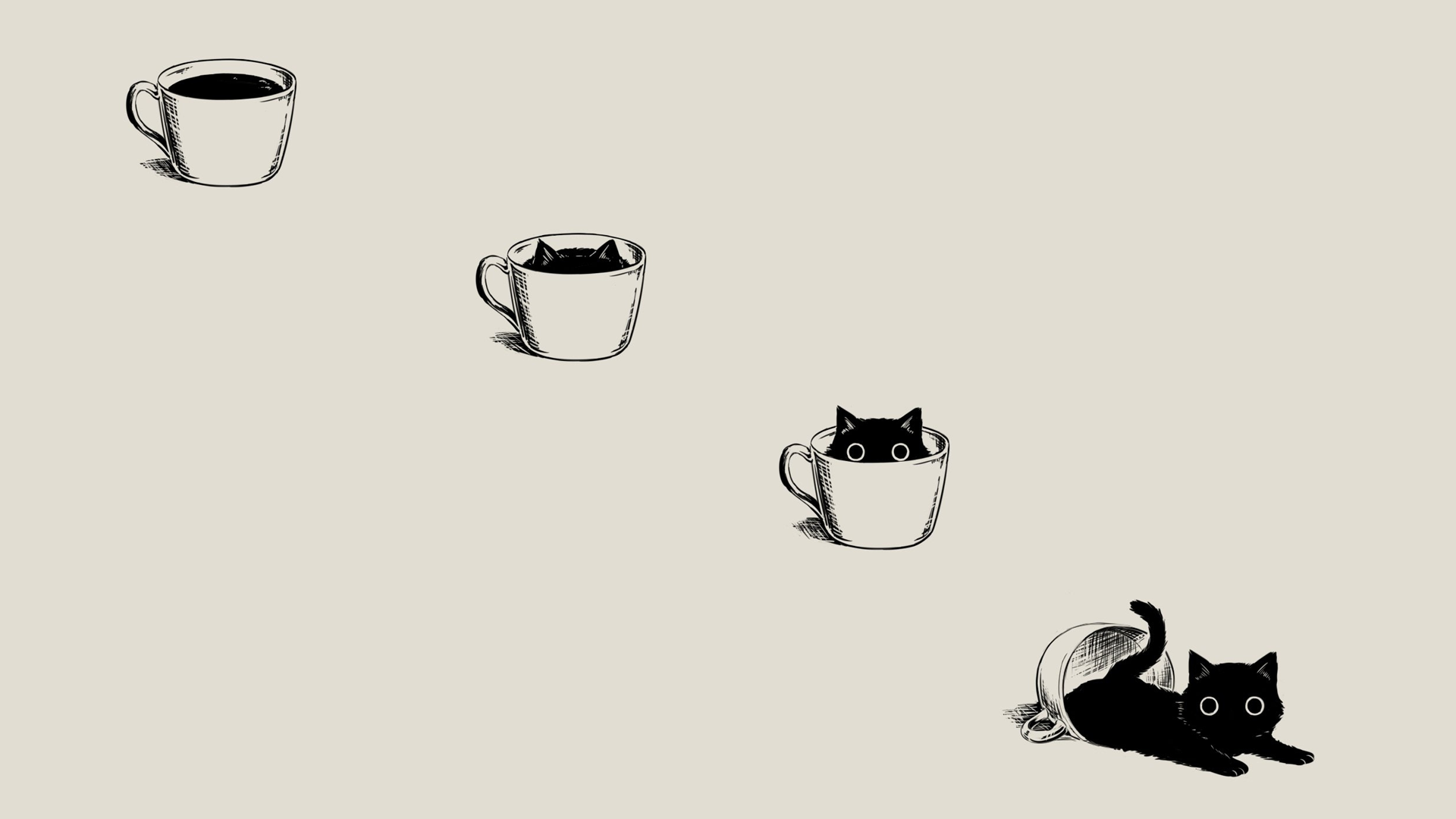 Cute Cat Cartoon Wallpaper - HD Wallpaper