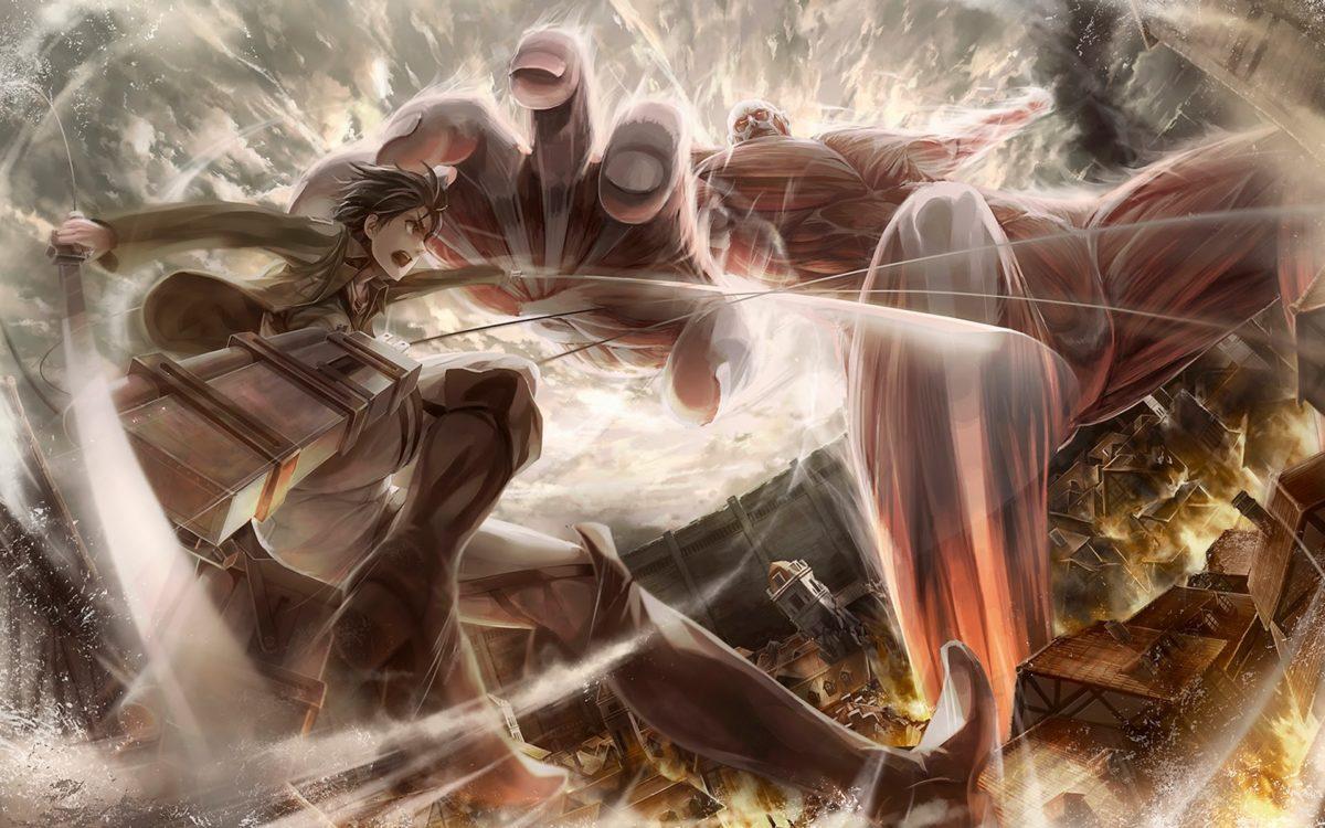 Colossal Titan Vs Eren Jaeger Attack On Titan Hd Wallpaper - Epic Anime Wallpaper Attack On Titan - HD Wallpaper