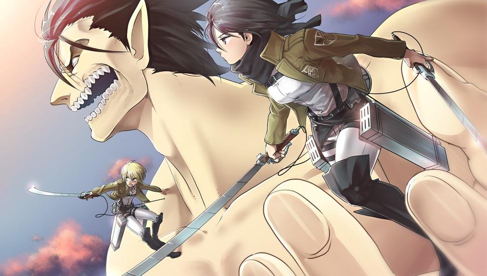 Anime Shingeki No Kyojin Buriki Neko Eren Jaeger Armin Arlert Titan Form 970x550 Wallpaper Teahub Io