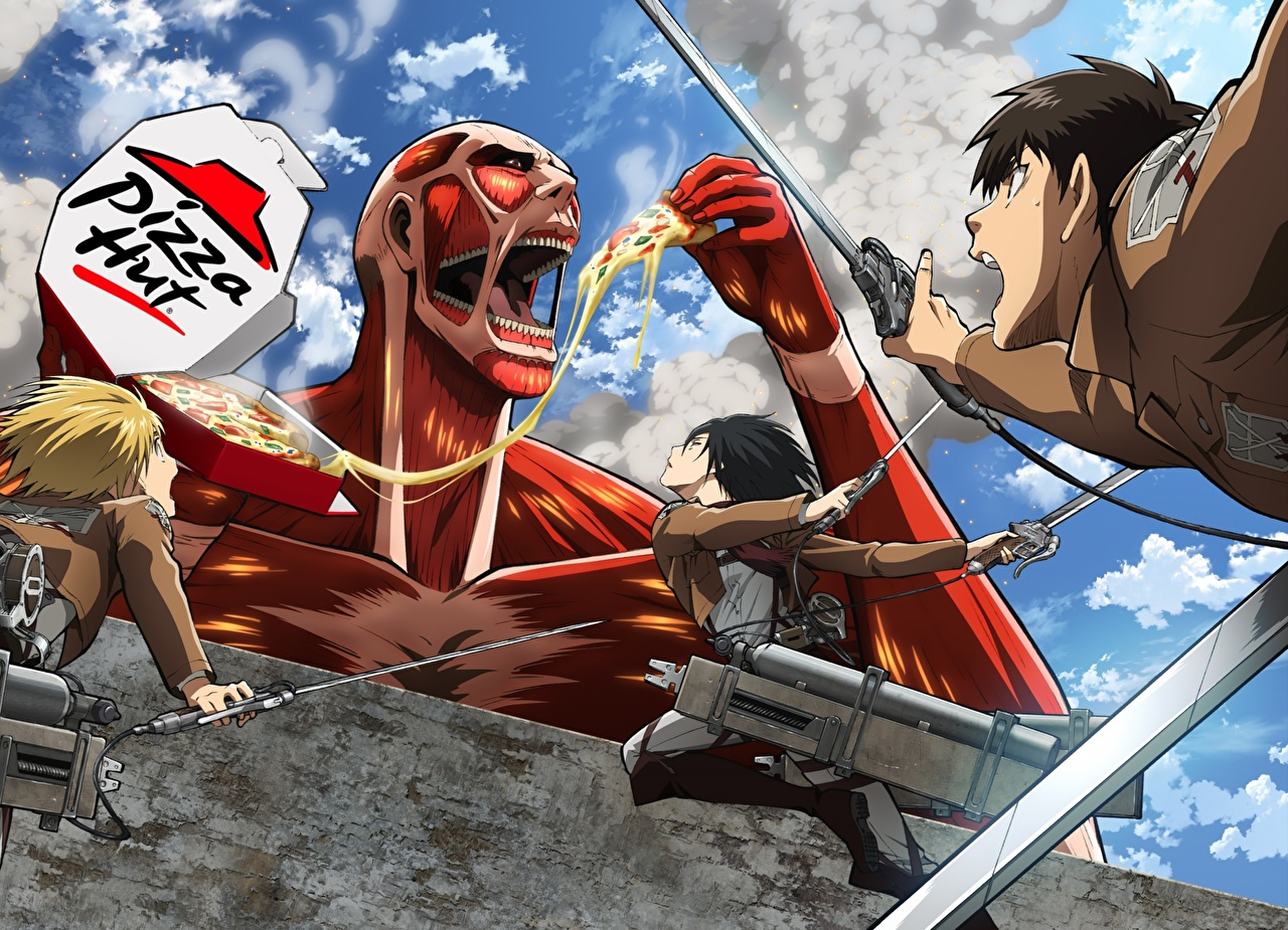 Attack On Titan Pizza Hut 1280x925 Wallpaper Teahub Io