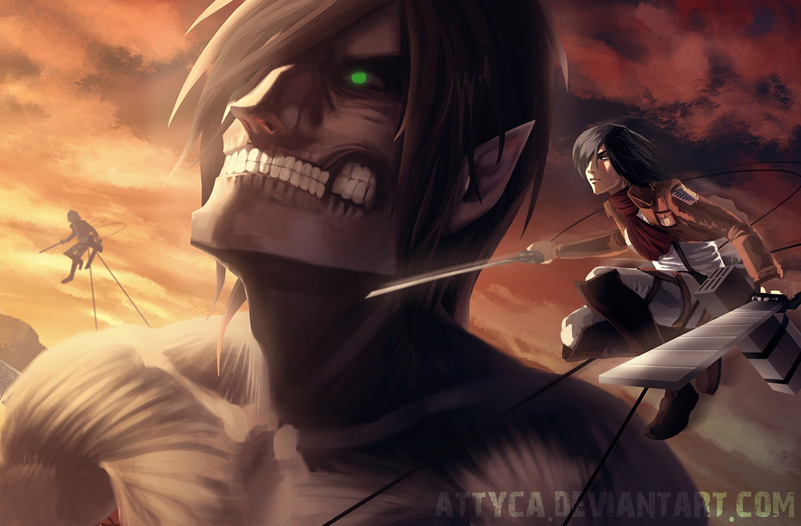 Eren Jaeger Titan Form Mikasa Ackerman Attack On Titan Mikasa And Eren Titan 1600x1052 Wallpaper Teahub Io