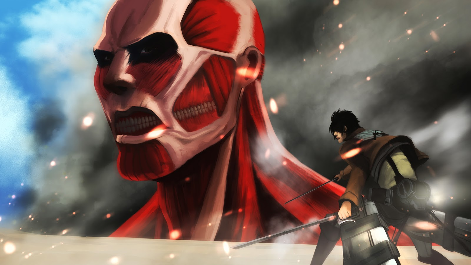 Eren Jaeger Colossal Titan Attack On Titan Shingeki Attack On Titan 1600x900 Wallpaper Teahub Io