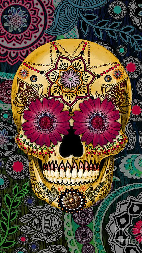 Imagenes Para Whatsapp Mexicanas - Beautiful Sugar Skull Art - HD Wallpaper