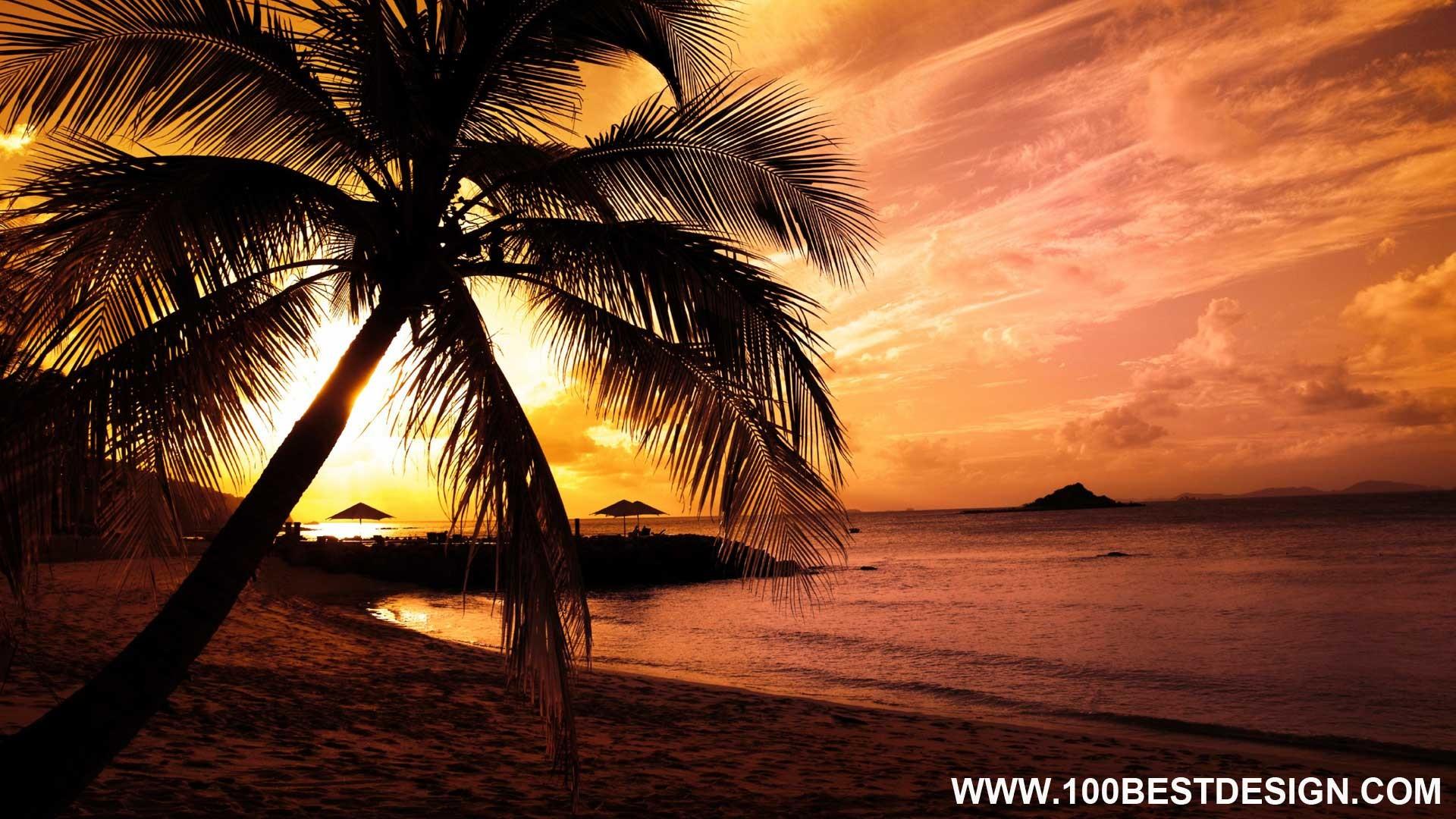 Top 100 Nice Nature Desktop Wallpaper And Background - Summer Sunset Beach Background - HD Wallpaper