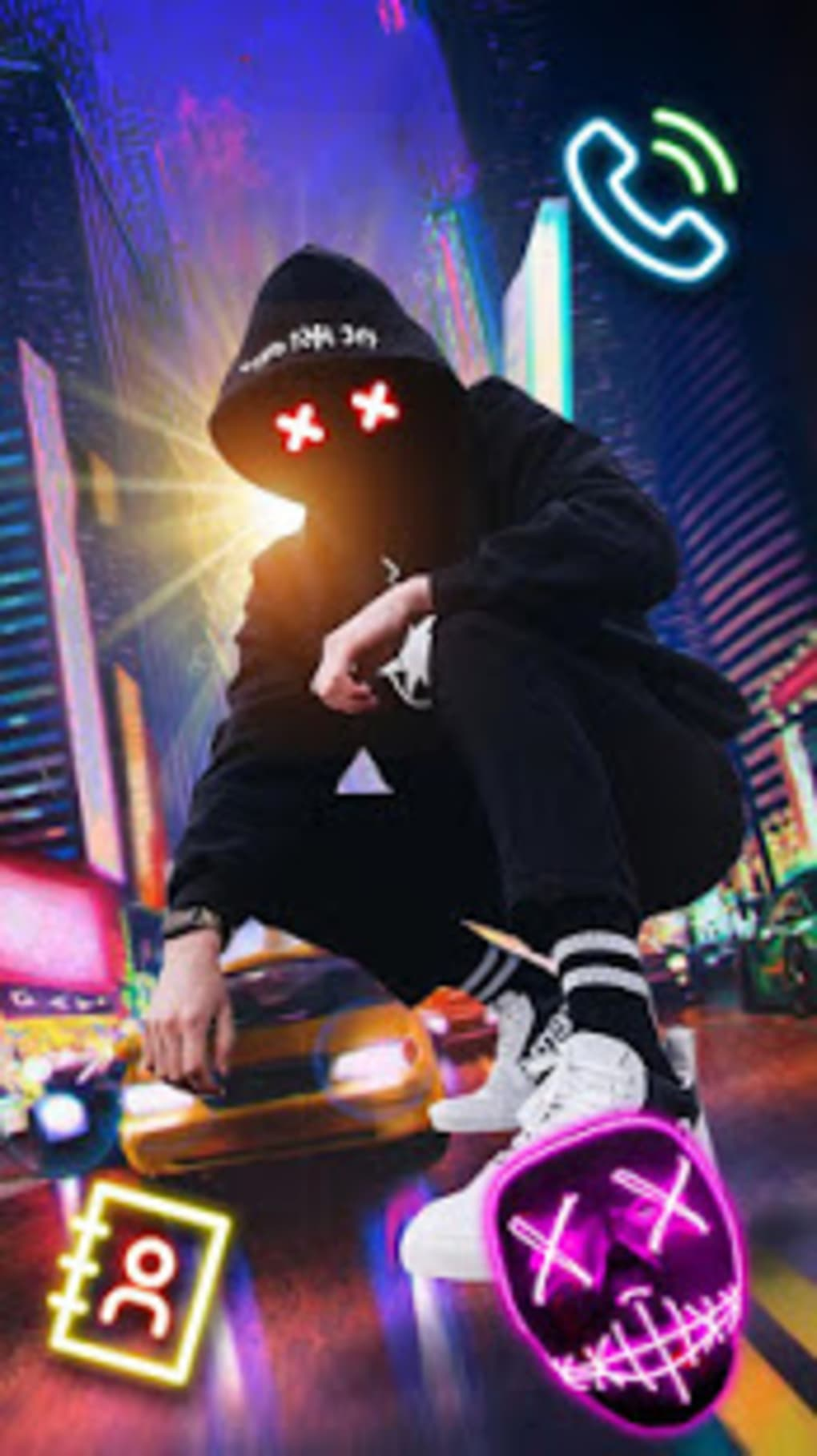 Neon Night Street Man Theme Live Wallpaper - Neon Night Street Man - HD Wallpaper