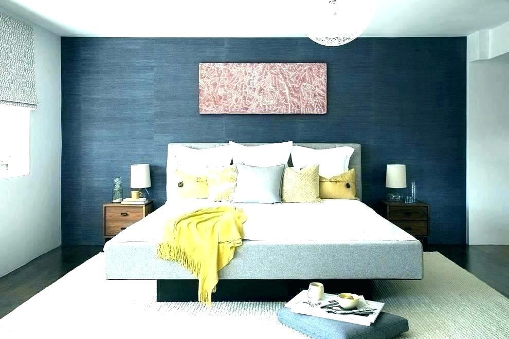 Gray Wallpaper Bedroom Dark Blue Walls And Grey Feature - Navy Blue Wall Bedroom - HD Wallpaper