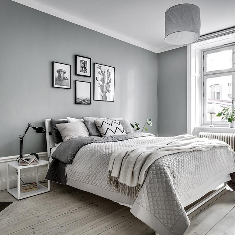 Cheap High Gloss Pvc Durable Grey Removable Wallpaper - Kamar Tidur Abu Abu - HD Wallpaper