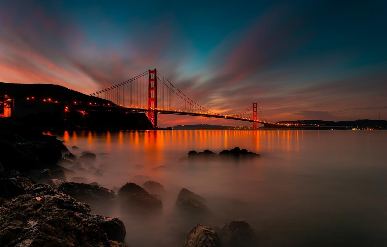 Photo Wallpaper Light, Sunset, Bridge, The City, Strait, - Golden Gate Bridge Hd - HD Wallpaper