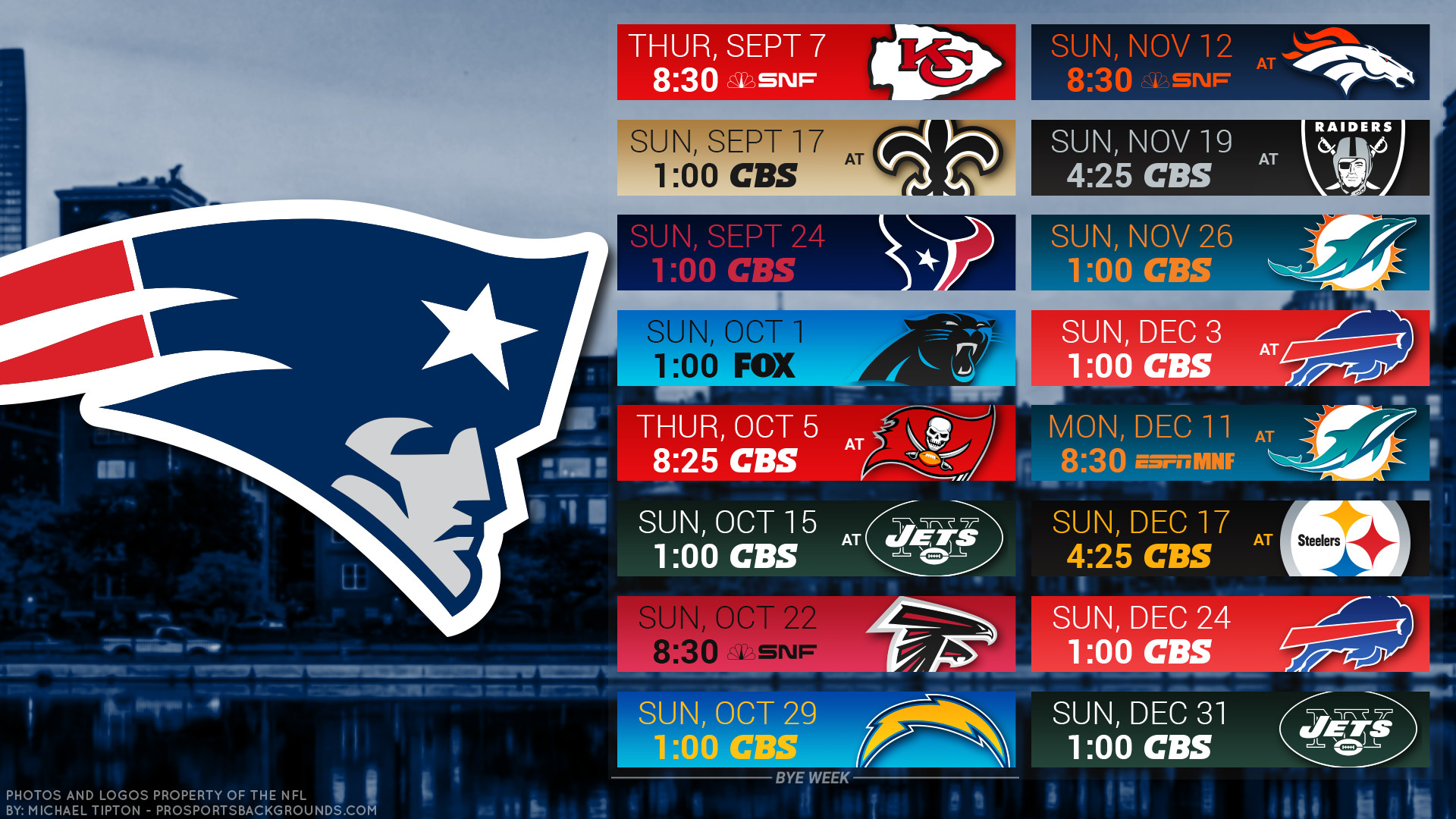 New England Patriots 2017 Schedule City Football Logo - Patriots Schedule Wallpaper 2019 - HD Wallpaper