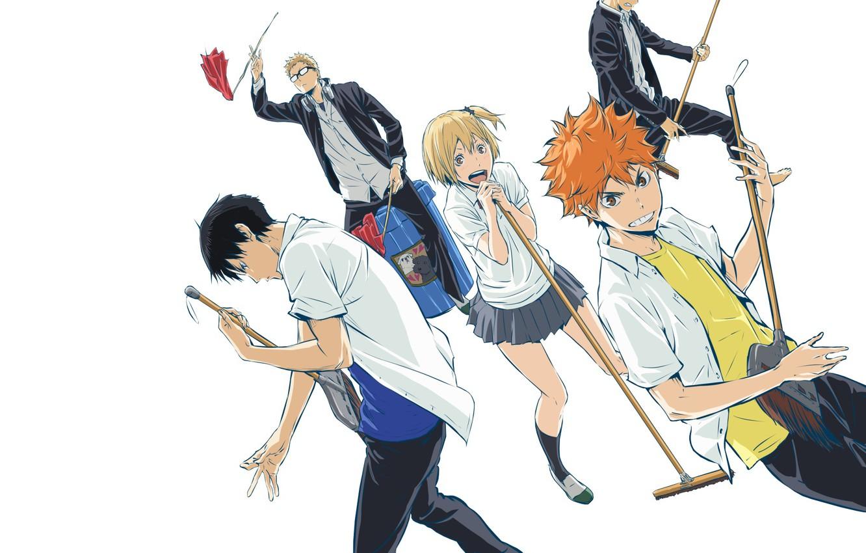 Photo Wallpaper Anime, Art, Guys, Volleyball, Haikyuu - Haikyuu!! - HD Wallpaper