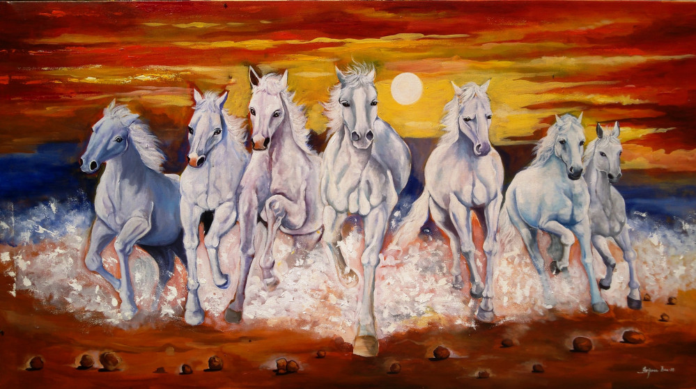 Seven White Horse , Painting By Arjun Das Contemporary - Canvas Horse Acrylic Painting - HD Wallpaper