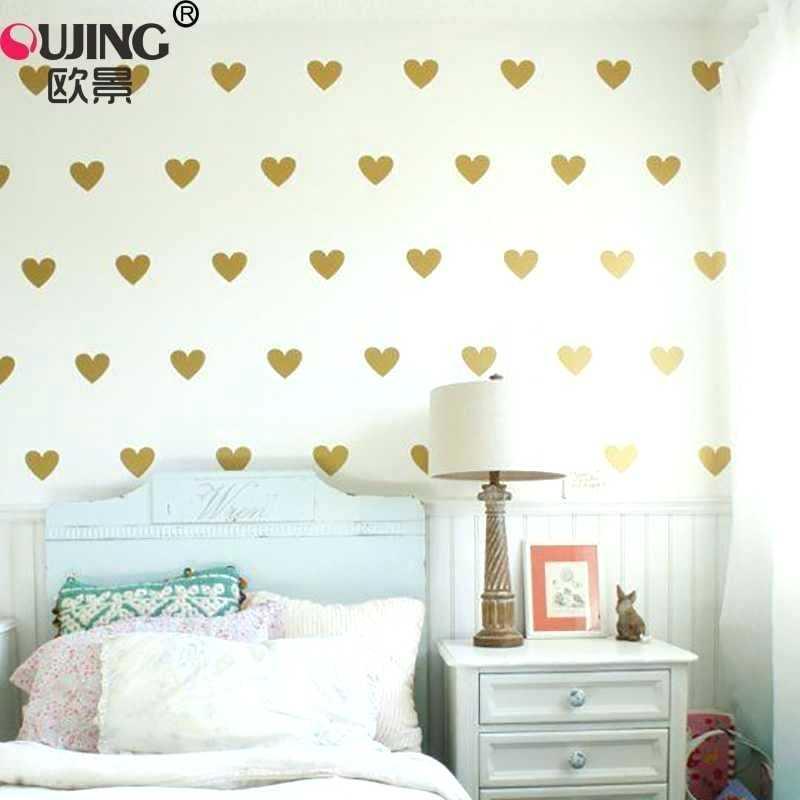 Cartoon Easy Apply Cute Heart Shaped Wall Stickers - Wall Heart Sticker For Girl Room - HD Wallpaper