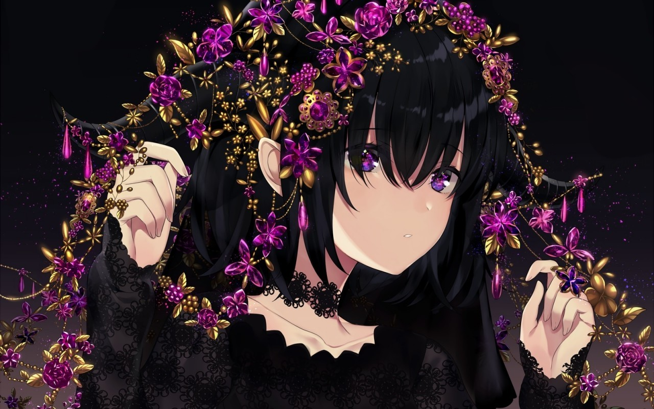 Anime Girl, Black Hair, Choker, Purple Eyes - 8x8 Wallpaper