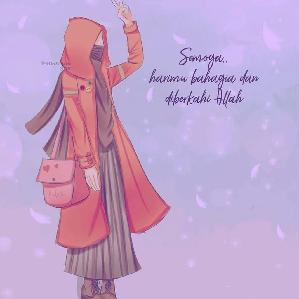Gambar Kartun Muslimah Bercadar Bahagia - Kartun Muslimah Bercadar Sedih - HD Wallpaper