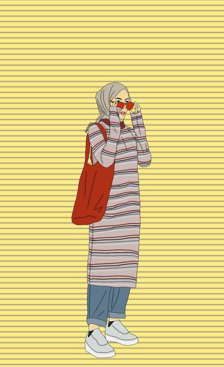 9200 Gambar Kartun Hijab Tumblr Hd Terbaik - Kartun Muslimah Berwarna Ungu - HD Wallpaper