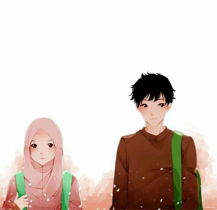 Kartun Muslimah Couple Terpisah - HD Wallpaper