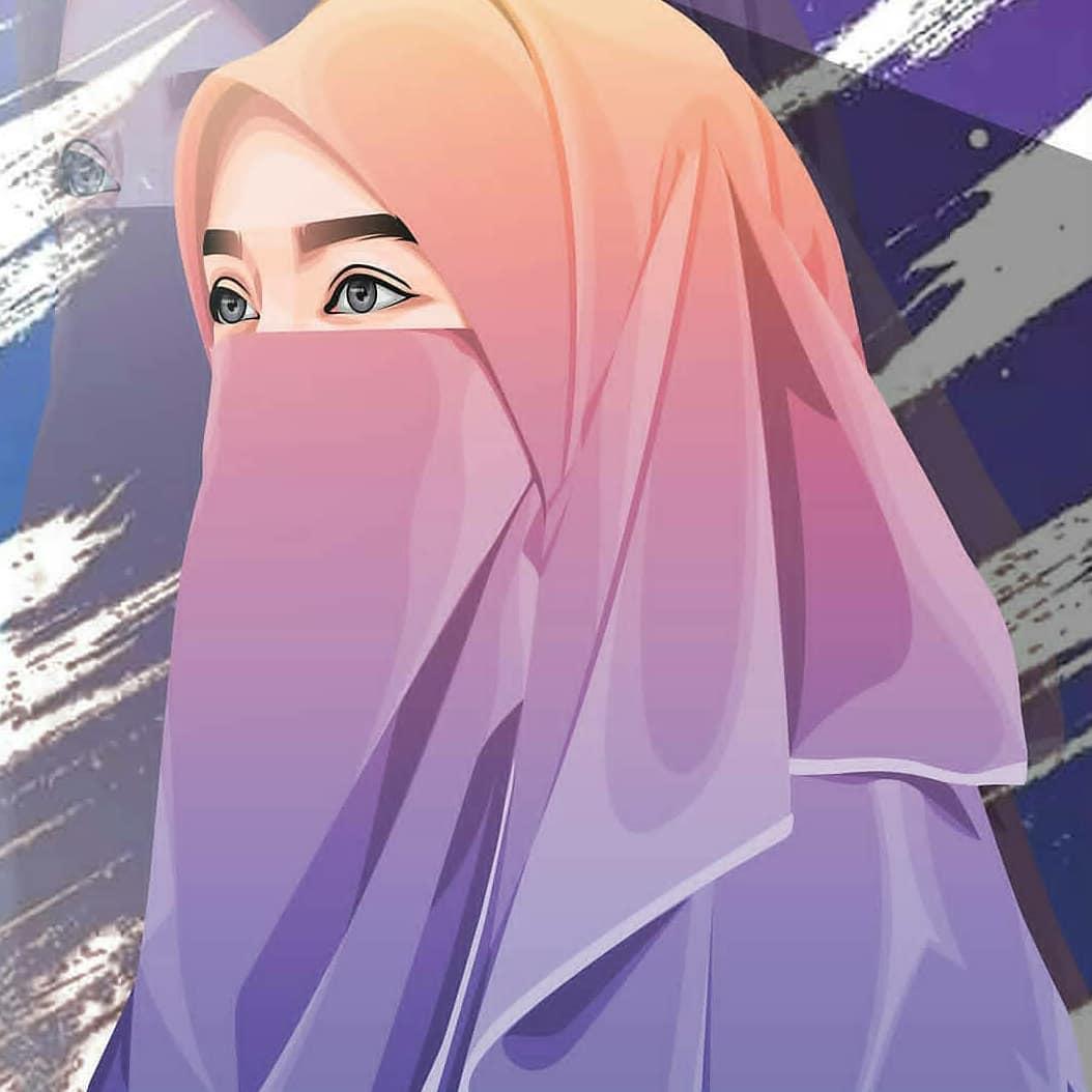 Muslimah Cantik, Muslimah Bercadar, Kartun Muslimah, - Animasi Kartun Muslimah Bercadar - HD Wallpaper
