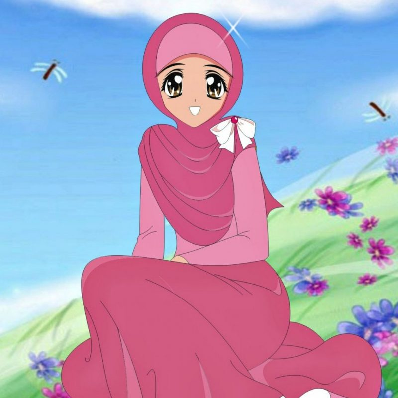 Imutnya Kartun Muslimah Diantara Bunga-bunga - Gambar2 Kartun Wanita Muslimah - HD Wallpaper