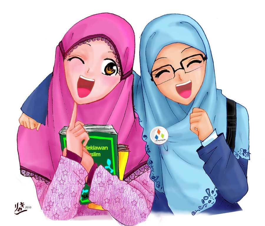 Gambar Best Friends Forever Berhijab Kartun - HD Wallpaper