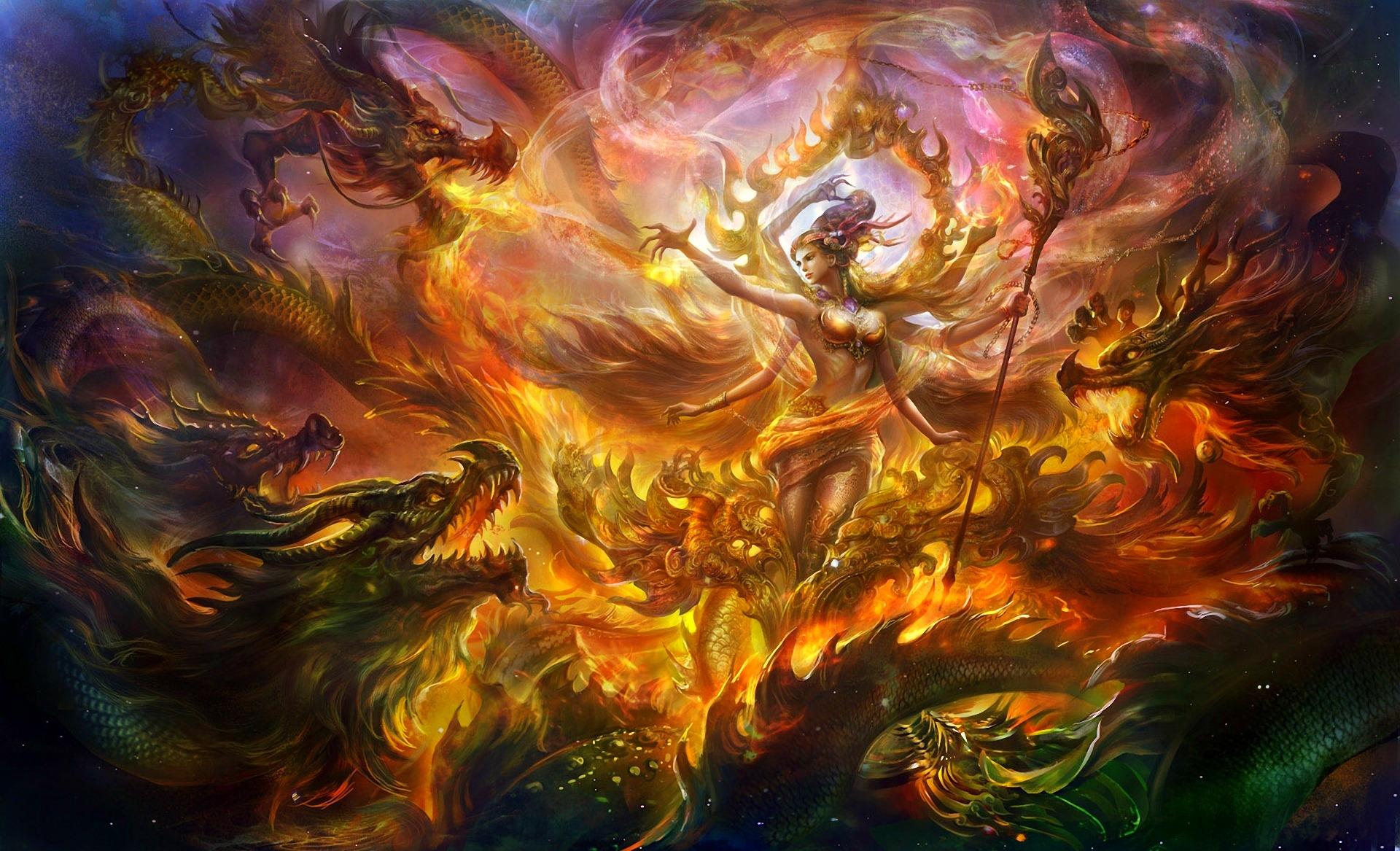 Dragon Goddess Fantasy Art - HD Wallpaper
