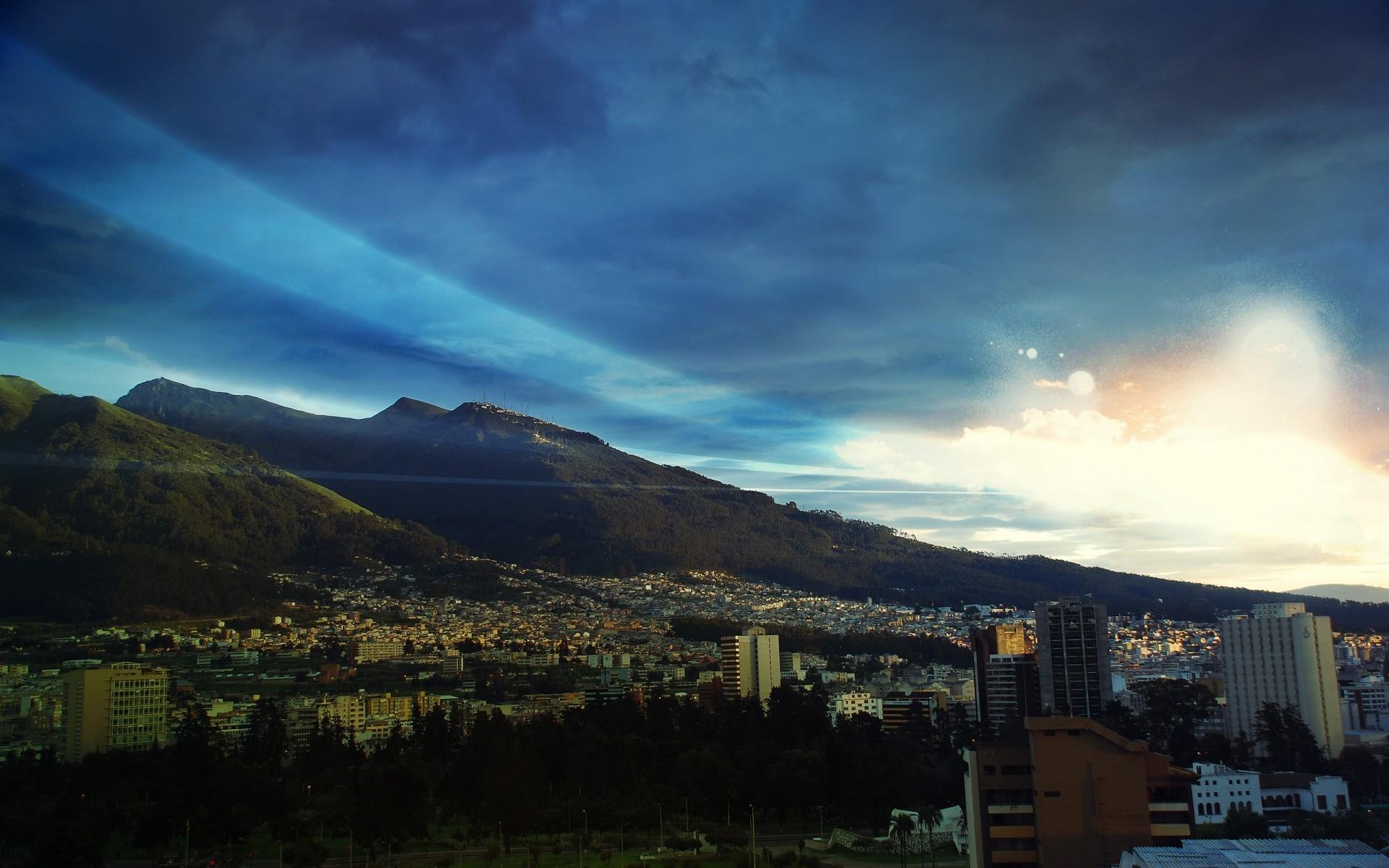 Other City Travel City Sky Sunset Mountain Landscape - Best Desktop Customization - HD Wallpaper