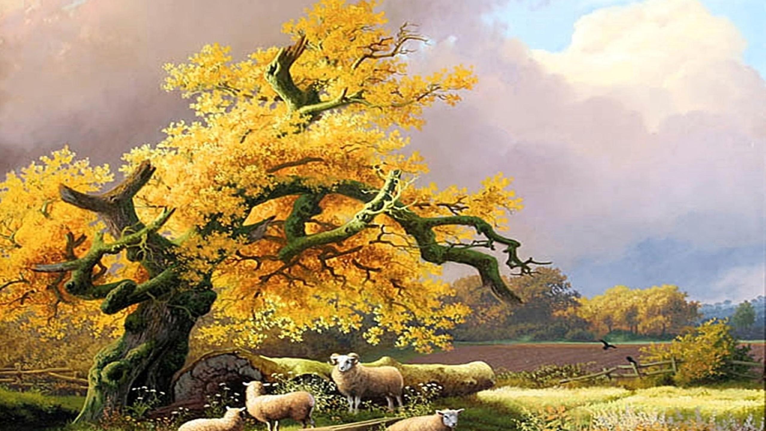 Nature Scene Painting Hd - HD Wallpaper