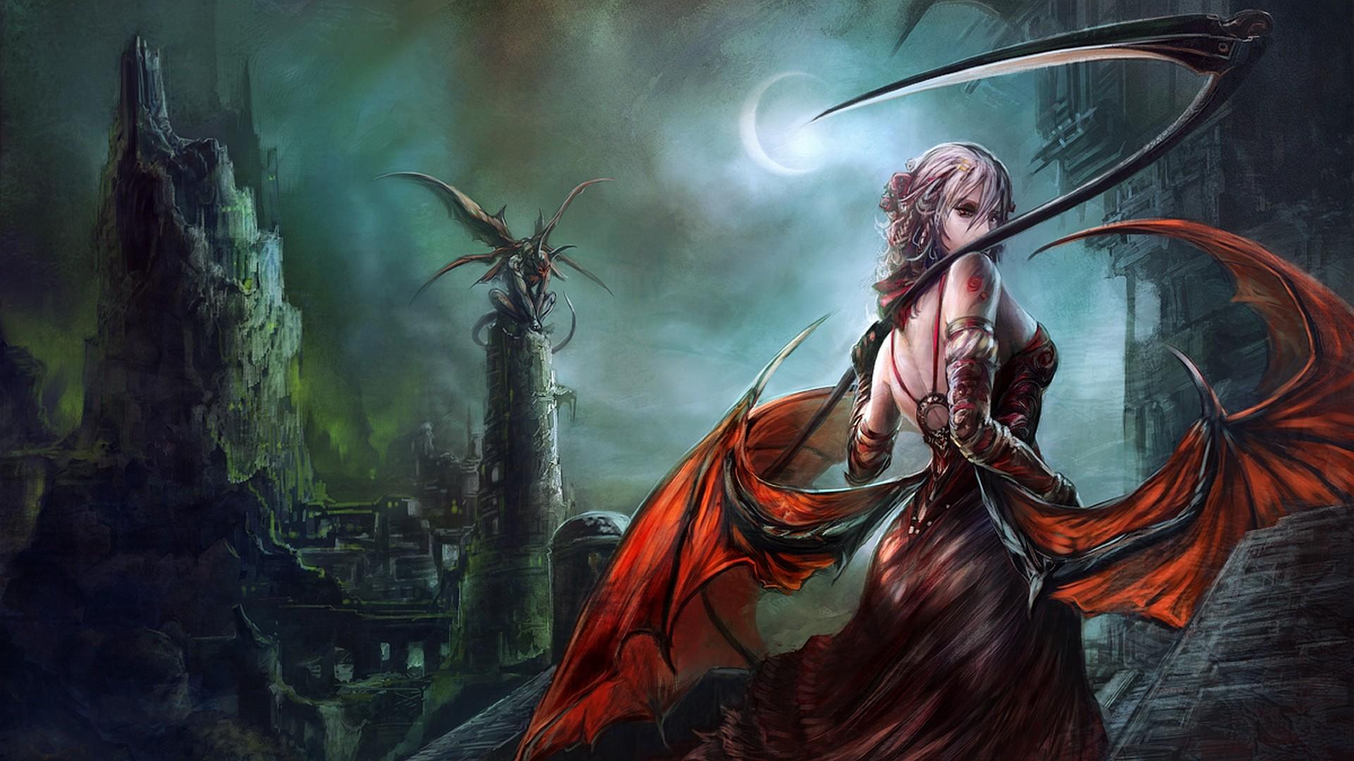 Big Dark Female Warrior Art - Fantasy Art Female Demon - HD Wallpaper
