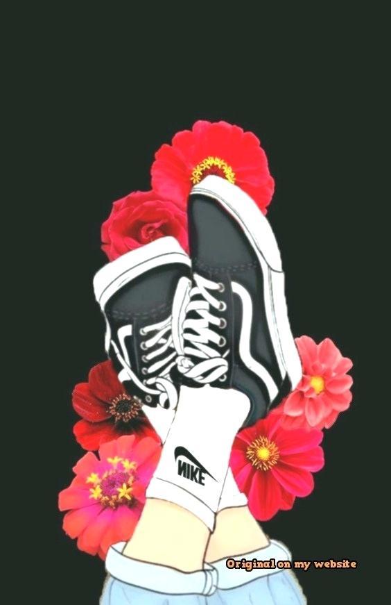 Aesthetic Flowers Wallpaper Wallpaper Flower Vans Shoes - Aesthetic Wallpaper Rose Black - HD Wallpaper