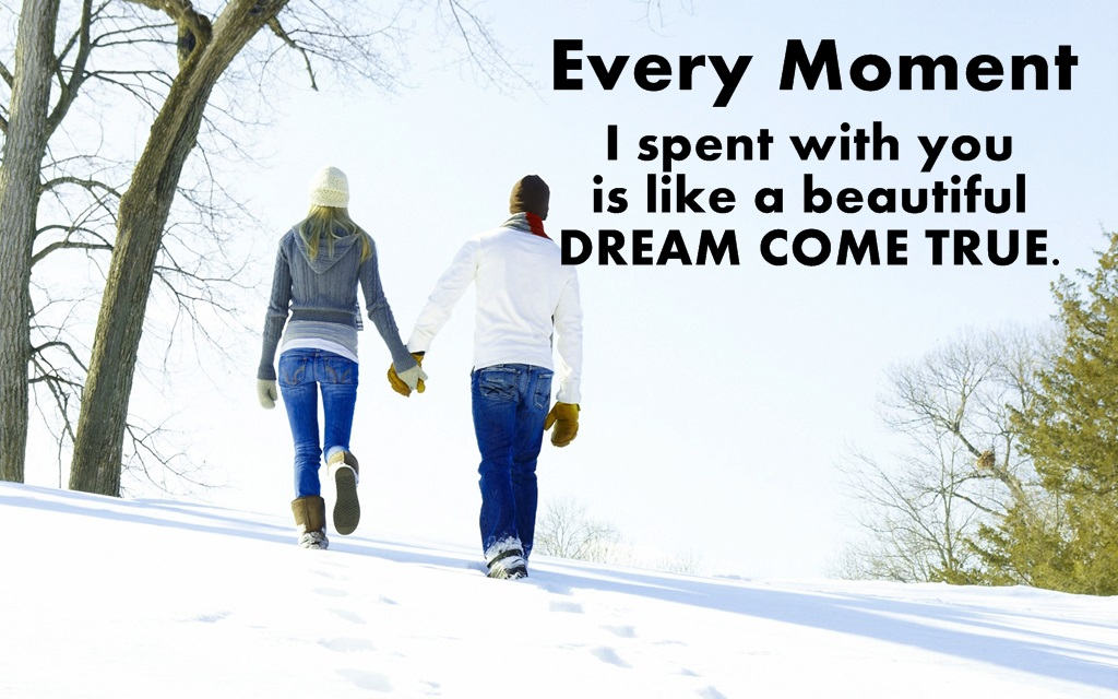 Love Couple Romantic Quotes Wallpapers - Beautiful Love Winter Free - HD Wallpaper