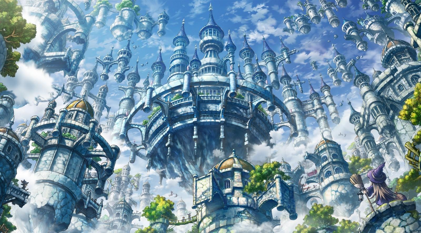 Floating Castle, Fantasy World, Witch, Clouds - Sky Castle Fantasy Art - HD Wallpaper