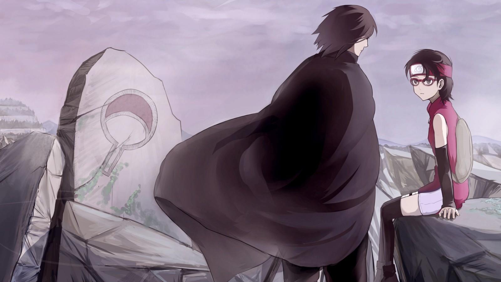 Uchiha Sasuke, Uchiha Sarada, Naruto - Sarada Uchiha And Sasuke Uchiha - HD Wallpaper