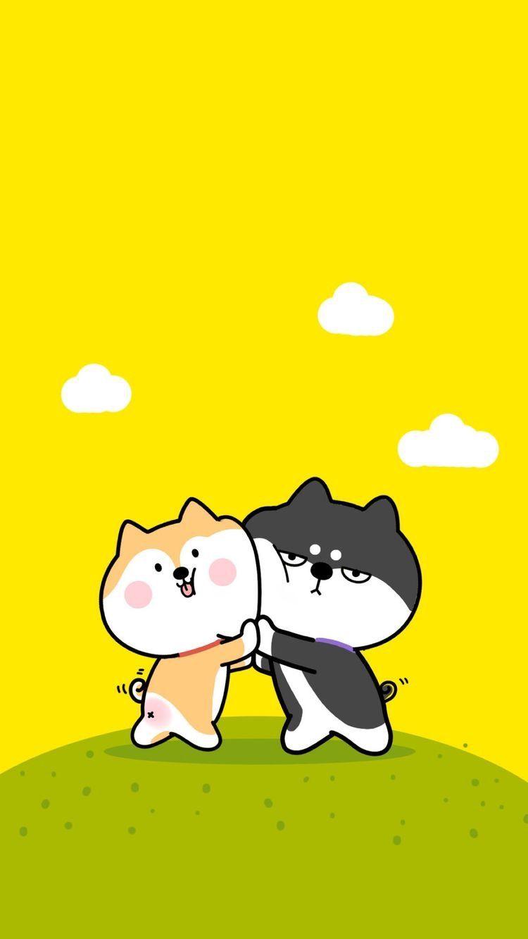 Cute Dog Couple Cartoon 750x1333 Wallpaper Teahub Io