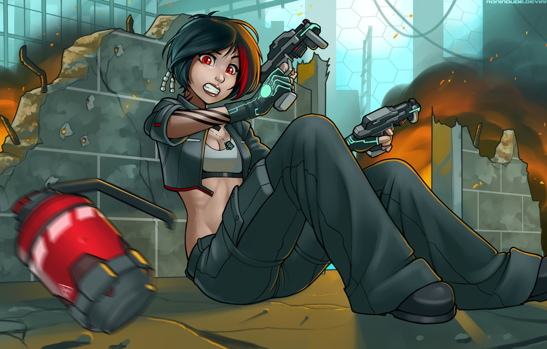 Photo Wallpaper Future, Weapons, Danger, Woman, Guns, - Anime Girl With Red Hair Tattoo Gun - HD Wallpaper