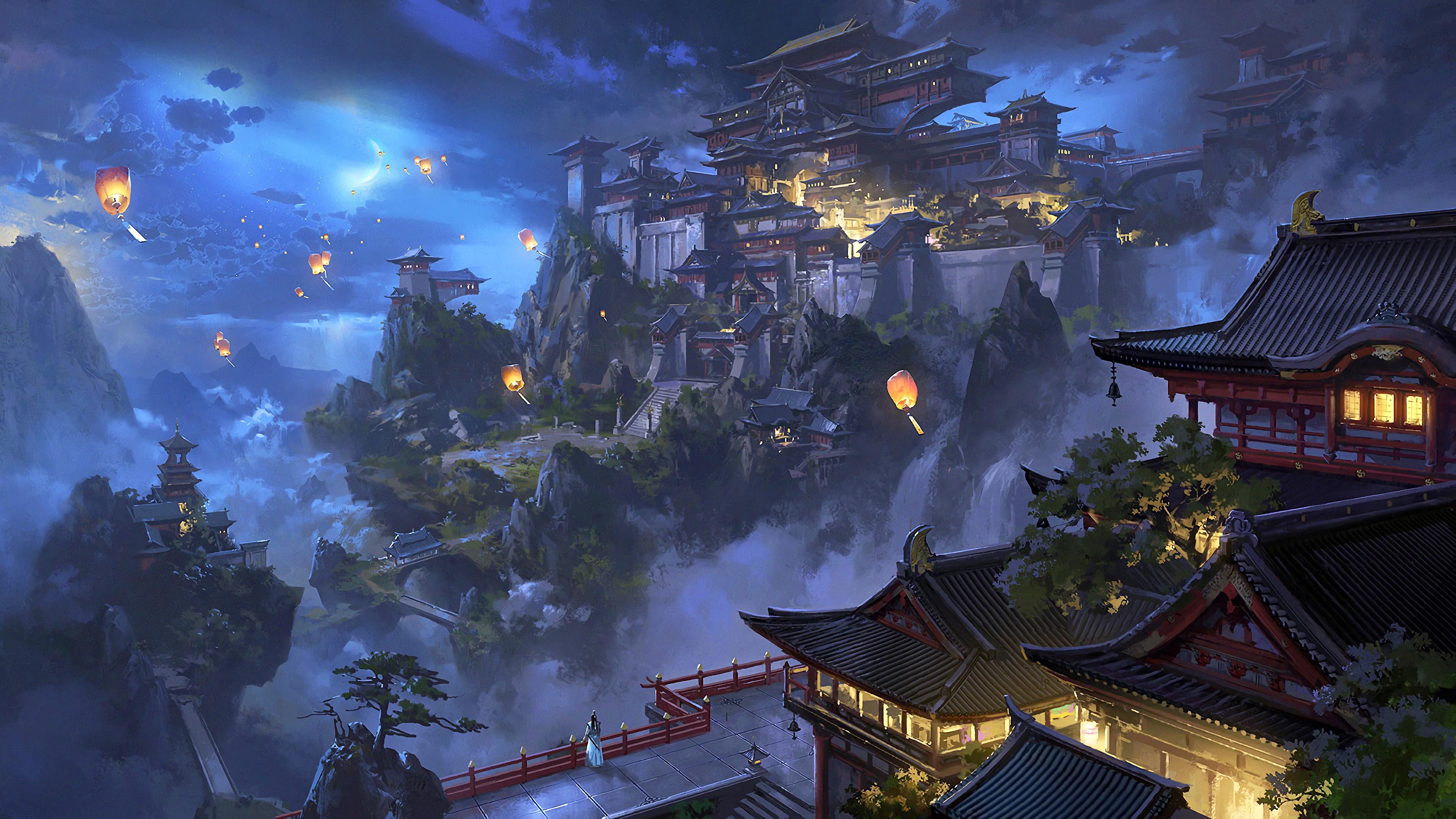 Anime Sky Lantern Mountain Japanese Castle Night Japan Anime Wallpaper 4k 3840x2160 Wallpaper Teahub Io