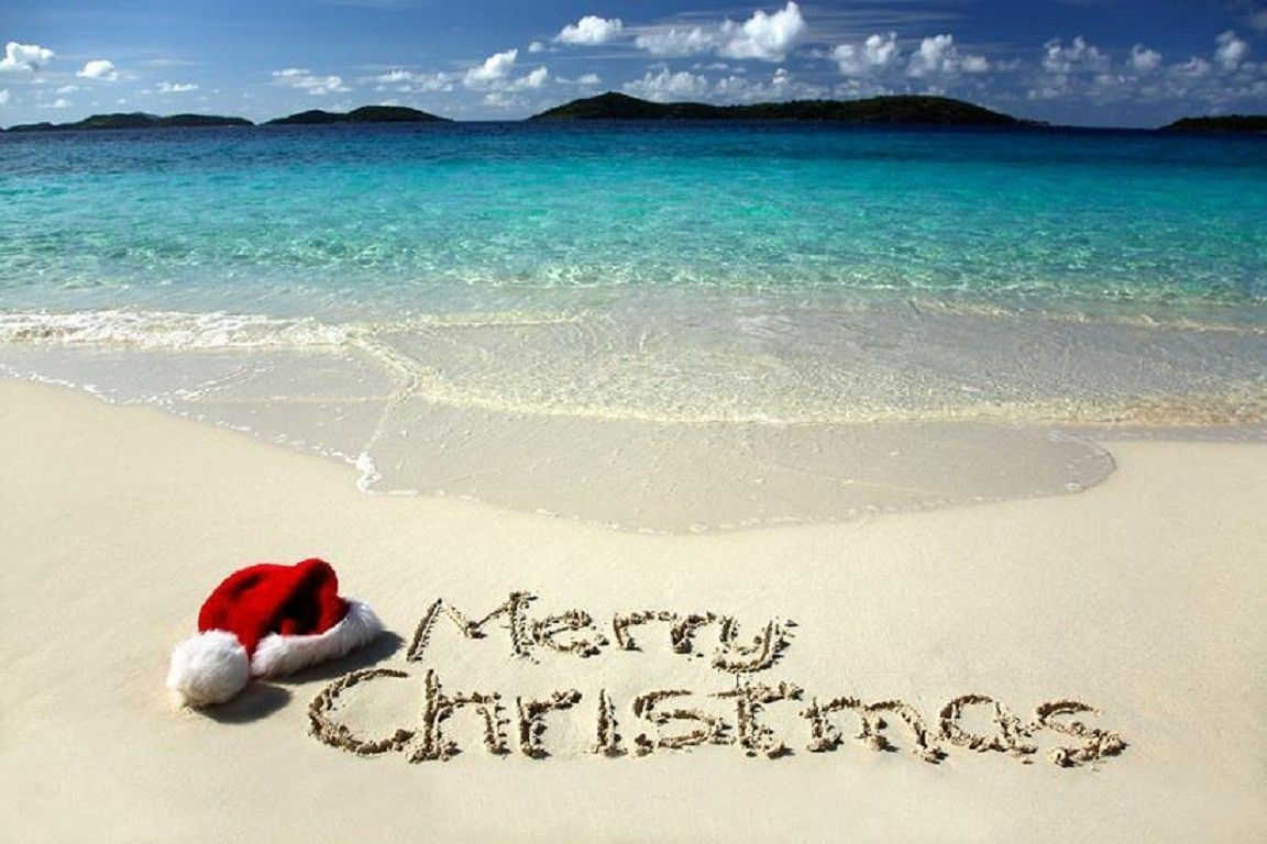 Wallpapers Tagged With Sea Page - Merry Christmas Beach Scene - HD Wallpaper