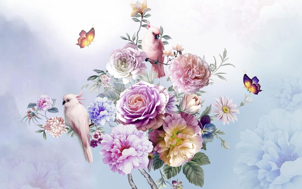 Wall Mural Flower, Pink And Watercolor Paint - 3d Flower Drawings On Wall - HD Wallpaper