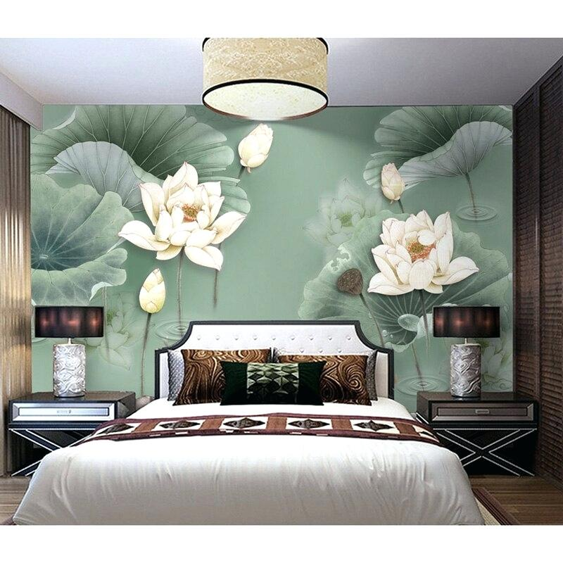 Floral Wall Paper Stickers Lotus Flower Wall Painting - Flower Wall Painting For Bedroom - HD Wallpaper