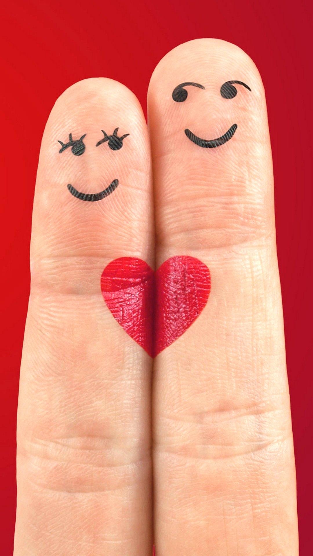 Finger Couple Love Heart - HD Wallpaper
