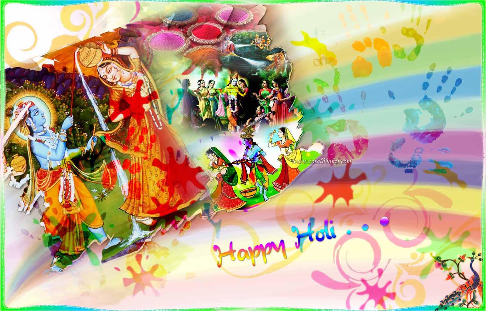 Happy Holi Krishna Radha - HD Wallpaper