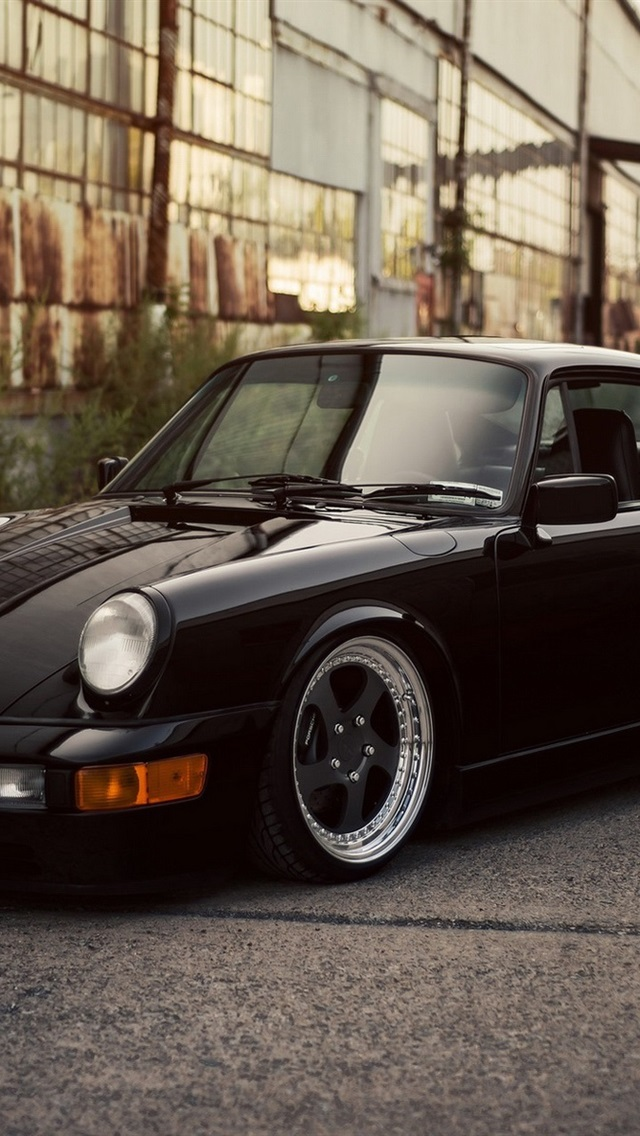 Iphone Wallpaper Porsche 911 Carrera Black Car Porsche 911 964 Custom 640x1136 Wallpaper Teahub Io
