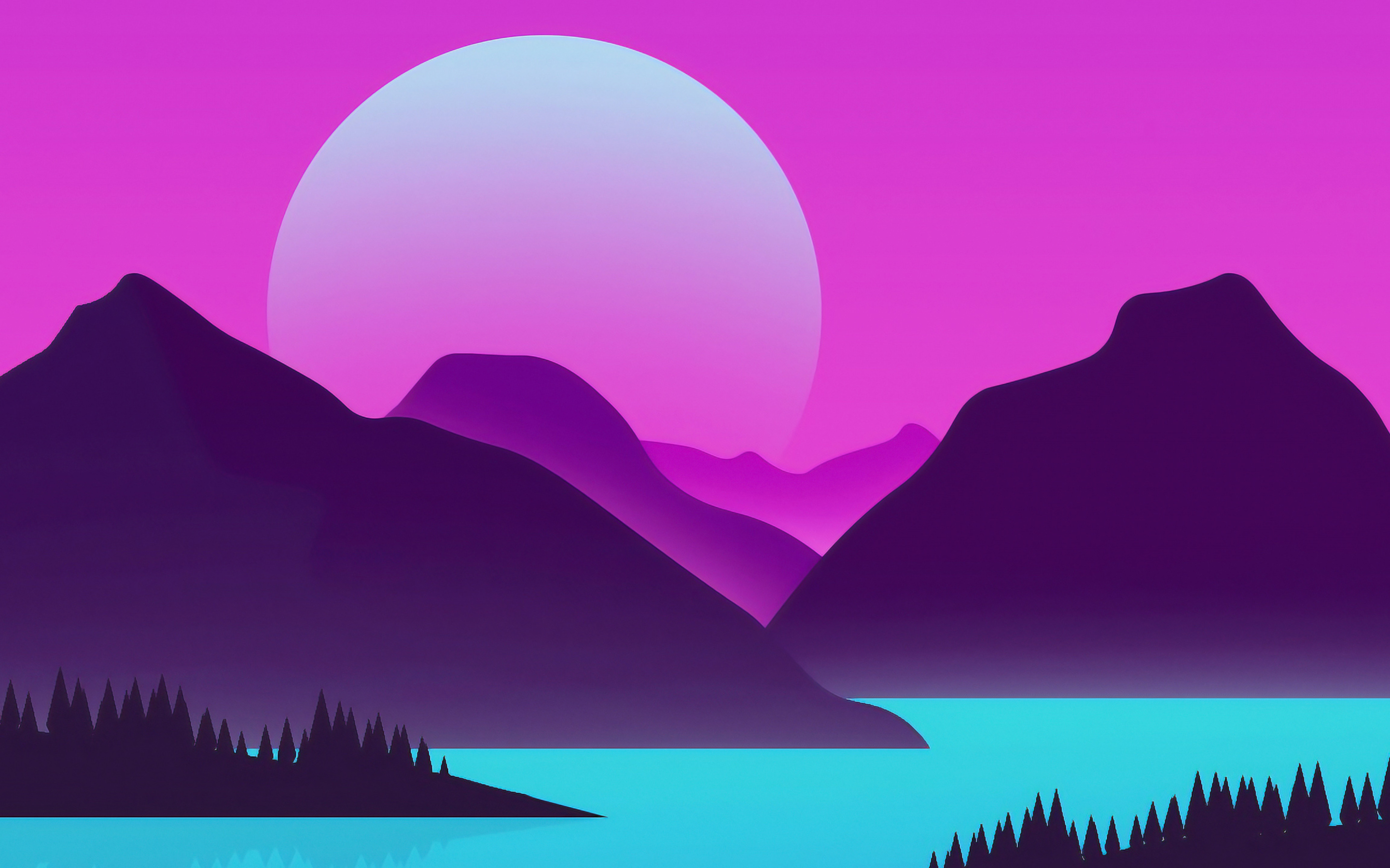 Abstract Summer Landscape, Mountains, Lake, Abstract - 4k Aesthetic Wallpapers Iphone X - HD Wallpaper
