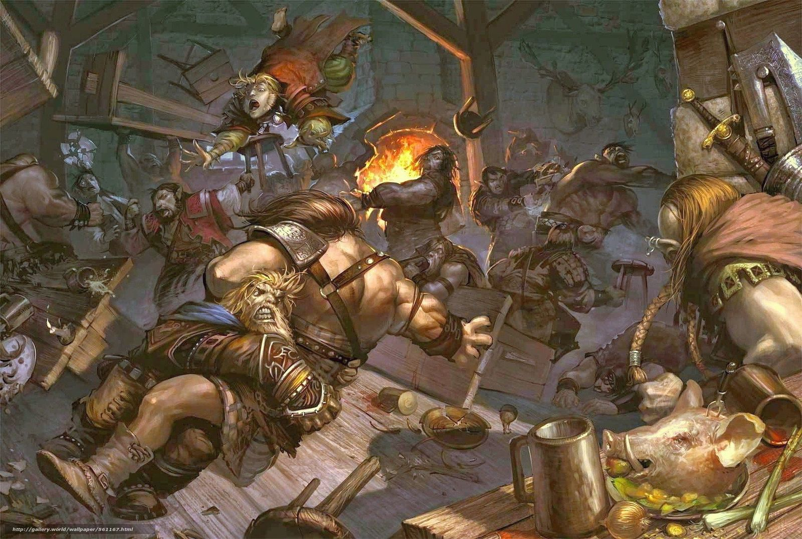Download Wallpaper Tavern, Fighting, Food, Vikings - Dungeons And Dragons Bar Fight - HD Wallpaper