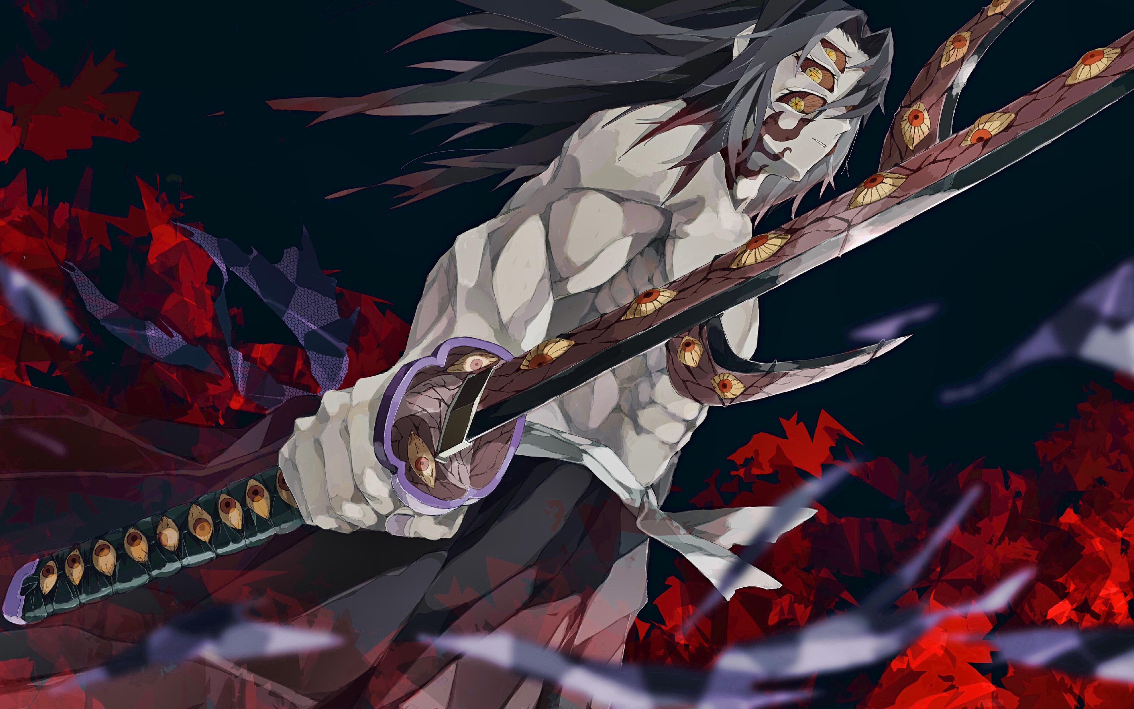 Kokushibou, 4k, Demon Hunter, Antagonist, Kimetsu No - Kimetsu No Yaiba 4k - HD Wallpaper
