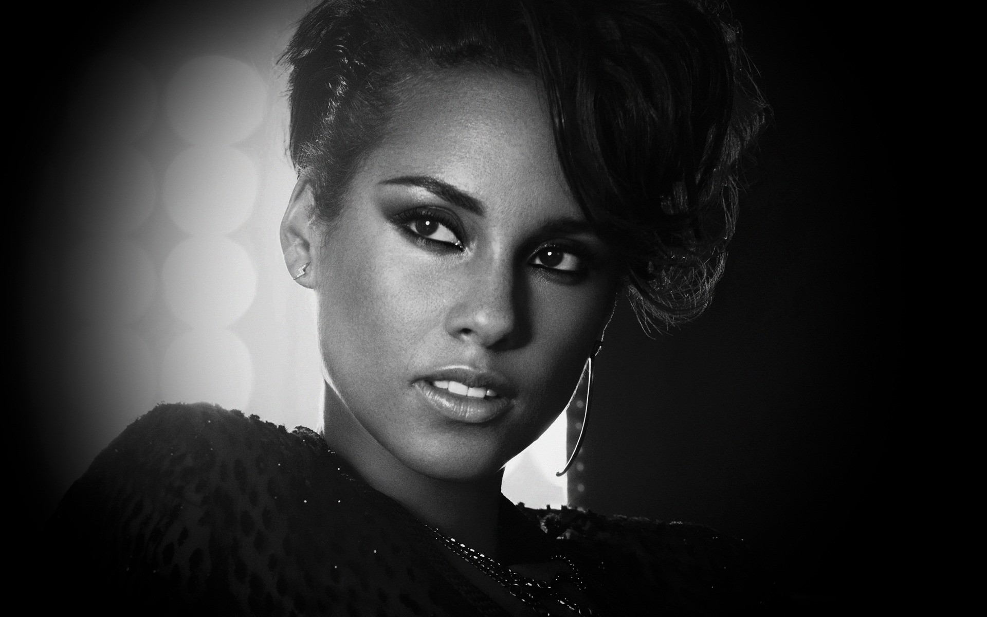 Music Portrait Fashion Monochrome Woman Model Dark - Alicia Keys Quotes About Love - HD Wallpaper